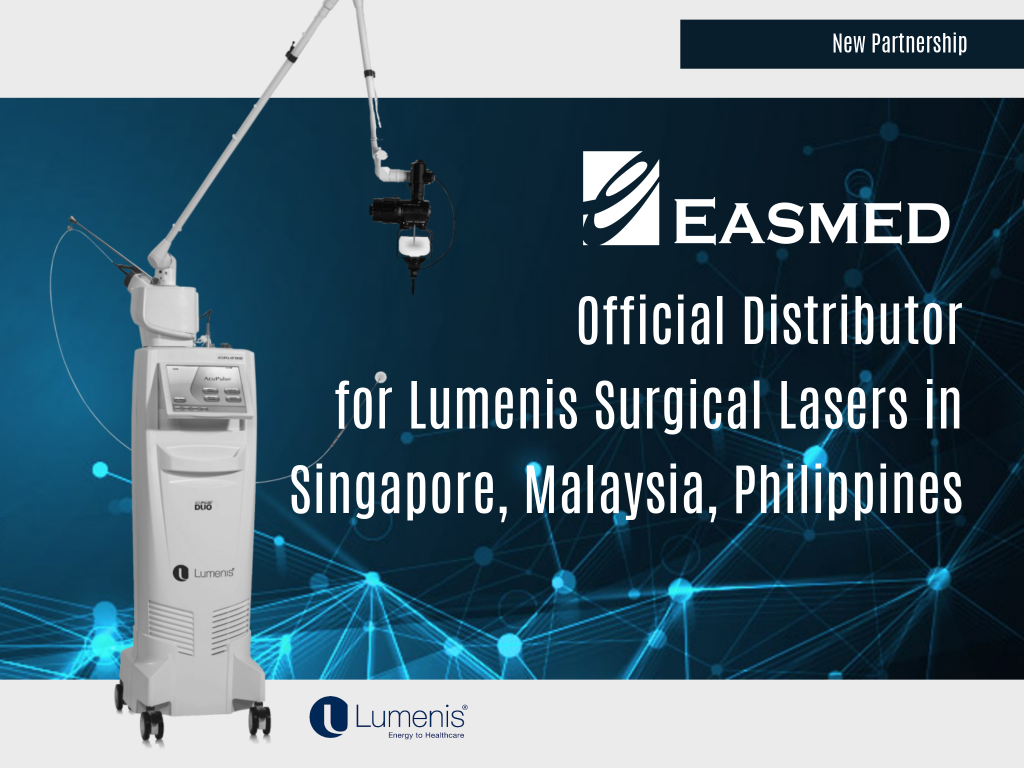 31st December 2019   LUMENIS PARTNERS EASMED FOR SURGICAL LASERS IN SINGAPORE, MALAYSIA AND PHILIPPINES   Easmed is pleased to announce an expansion in the partnership with Lumenis, World's Leading Supplier of Laser and Energy-Based Solutions, to include Malaysia market for the Lumenis ENT and Urology surgical range of products, from December 2019.   The Easmed-Lumenis partnership harkens back to July 2018 starting with the Singapore and Philippines markets for the surgical range of Lumenis products.    Here's to continued success for both Easmed and Lumenis!